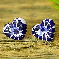 Ceramic button earrings, 'Heart of Mexico' - Talavera-Style Ceramic Heart Earrings