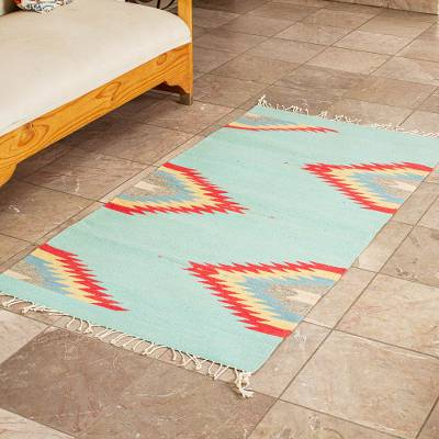 Zapotec wool area rug, 'Zapotec Lightning' (2.5x5) - Hand Crafted Multicolored Area Rug (2.5x5)