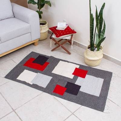 Wool area rug, 'Around the Block' (2.5x5) - Block Patterned Wool Area Rug (2.5x5)