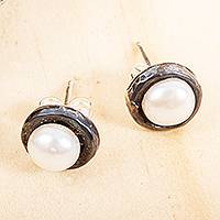 Cultured pearl stud earrings, 'Light in the Darkness' - Oxidized Silver Earrings with Cultured Pearls