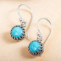 Turquoise dangle earrings, 'Taxco Treasure' - 950 Silver and Turquoise Earrings