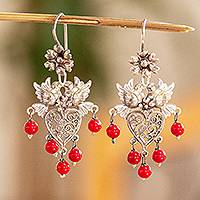 Sterling silver filigree chandelier earrings, 'Dove Romance in Red' - Romantic Sterling Silver Earrings with Crystal Beads