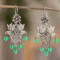 Sterling silver filigree chandelier earrings, 'Dove Romance in Green' - Filigree Earrings with Green Crystal Beads
