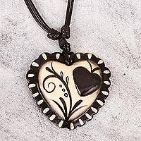 Papier mache pendant necklace, 'Two Loving Hearts' - Hand Painted Black & Beige Papier Mache Heart Necklace