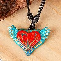 Hand painted pendant necklace, 'From the Heart' - Folk Art Heart Pendant Necklace