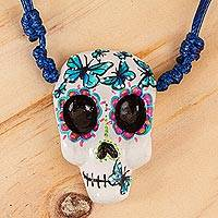 Hand painted pendant necklace, 'Blue Butterfly Calavera' - Hand Painted Skull Necklace with Butterflies