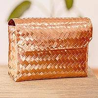 Copper clutch handbag, 'Woven Ribbons' - Petite Handwoven Mexican Copper Clutch Handbag
