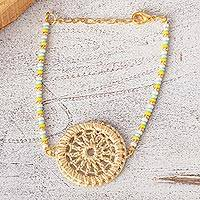 Gold-accented crochet pendant bracelet, 'Aine' - Beaded Pendant Bracelet from Mexico