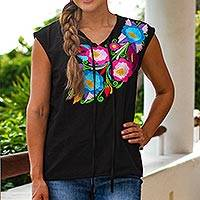 Hand-embroidered cotton blouse, 'Zapopan Blossoms' - Colorful Embroidered Sleeveless Blouse