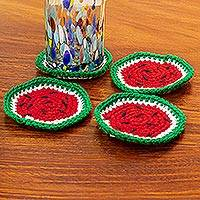 Crocheted coasters, 'Luscious Watermelon' (set of 4) - Artisan Crafted Watermelon Coasters (Set of 4)