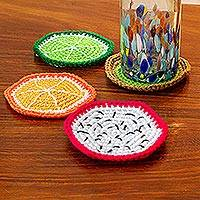 Crocheted coasters, 'Juicy Fruit' (set of 4) - Fruit-Themed Crocheted Coasters (Set of 4)