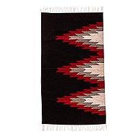 Zapotec wool area rug, 'Diamond Peaks' - Diamond Motif Wool Area Rug (2.5x5)