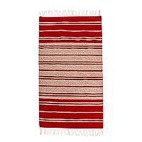 Wool area rug, 'Simple Stripes'  (2.5x5) - Red and Beige Striped Area Rug (2.5x5)