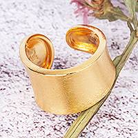 24k gold-plated wrap ring, 'Roma' - 24k Gold-plated Solid Band Wrap Ring From Mexico