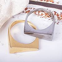 Gold and rhodium plated signet rings, 'Two Are One' (pair) - 1 Gold Plated & 1 Rhodium Plated Modern Signet Rings