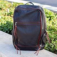 Leather backpack, 'Contrast' - Handmade Black Leather Backpack