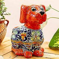 Ceramic planter, 'Best Friend' - Talavera Style Ceramic Dog Planter from Mexico