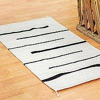 Zapotec wool rung, 'Bold Encounter' (2x3.5) - Handwoven Black on White Modern Zapotec Wool Rug 2 x3.5