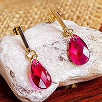 Gold plated Swarovski dangle earrings, 'Berry Drops' - 14k Gold-Plated Pink Swarovski Dangle Earrings from Mexico