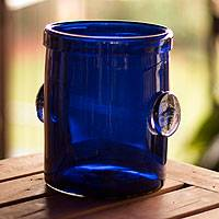 Blown glass ice bucket, 'Midnight Blue' - Handmade Handblown Glass Recycled Ice Bucket Barware