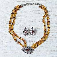 Amber jewelry set, 'Honey Sea' - Amber jewelry set