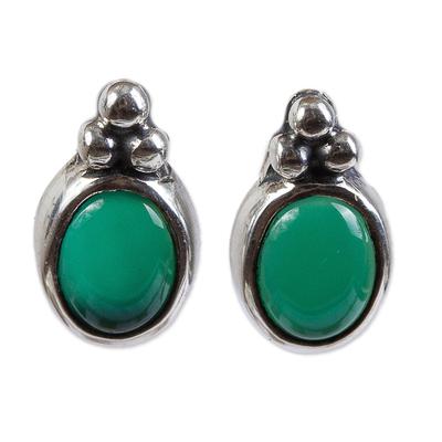 Chrysoprase button earrings