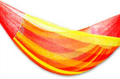 Hammock, 'Tequila Sunrise' (double) - Hand Made Mexican Striped Mayan Hammock (Double)