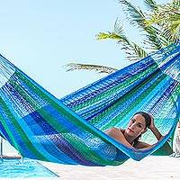 Hammock, 'Sea Breeze' (double) - Double Mayan Rope Style Nylon Hammock Handmade in Mexico