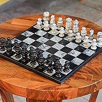 Marble chess set, 'Check in Gray' - Handcrafted Mexican Marble Chess Set Game