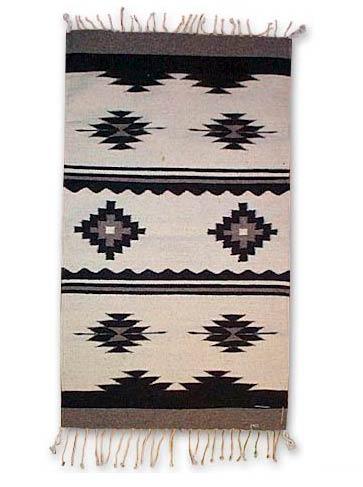 Unique Mexican Zapotec Wool Area Rug Natural Novica