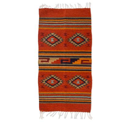 Zapotec wool rug, 'Red Rhombus' (2x3) - Handcrafted Geometric Mexican Rug (2x3)