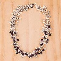 Amethyst chain necklace, 'Romance'