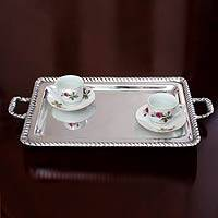 Aluminum tray, 'Moorings' - Artisan Crafted Mexican Pewter Aluminum Tray Serveware
