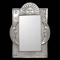 NOVICA - Mexico - Contemporary Design - Mirror, 'Sun and Moon'  :  mirror design wall vain