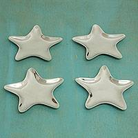 Appetizer plates, 'Stars' (set of 4) - Unique Appetizer Dinnerware Plates of Aluminum (Set of 4)