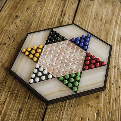 Marble and onyx Chinese checkers, 'Colorful Contrast' - Hand Crafted Marble Chinese Checker Game Set
