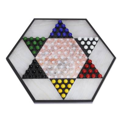 Hand Crafted Marble Chinese Checker Game Set