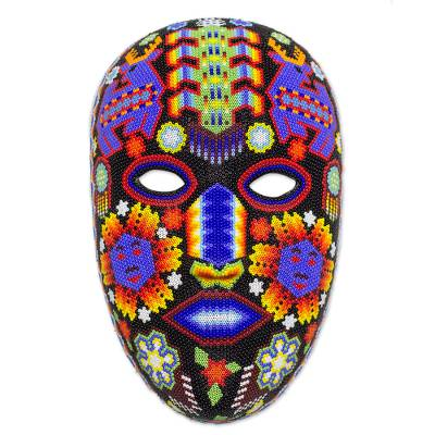 Beaded mask, 'Blue Deer with Corn' - Huichol Handmade Mask Multicolor Beaded Folk Art