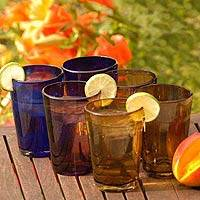 Tumblers, 'Rainbow Gems' (set of 6) - Mexican Multicolor Handblown Glasses Tumbler Drinkware Six