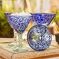Martini glasses, 'Dotted Blue'