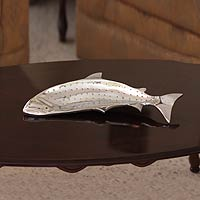 Aluminum tray, 'Sleek Fish' - Unique Mexican  Aluminum Tray Sea Life Serveware