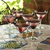 Martini glasses, 'Amethyst' (set of 6) - Hand Blown Martini Glasses Purple Set of 6 Mexico