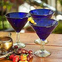 Blown glass martini glasses, 'Sapphire Blue' (set of 6) - Handblown Glass Recycled Martini Drinkware (Set of 6)