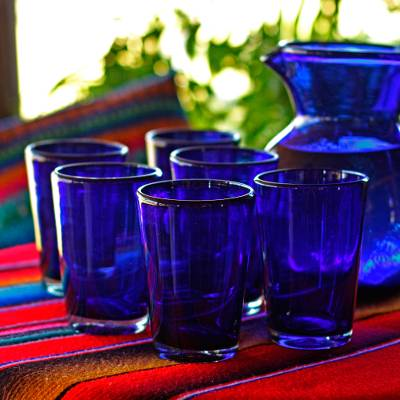 Drinking glasses, Cobalt Angles (set of 6)