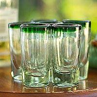 Shot glasses, 'Green Fade' (set of 6) - Hand Blown Shot Glasses Set of 6 Clear with Green Rim Mexico