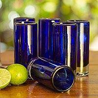 Blown glass shot glasses, 'Pure Cobalt' (set of 6) - Set of 6 Blue Hand Blown Mexican Tequila Shot Glasses
