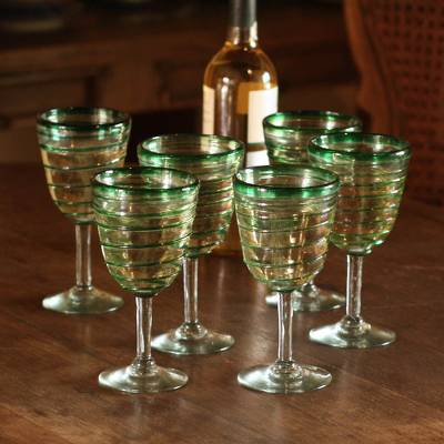 Goblets, 'Green Spiral' (set of 6) - Hand Made Mexican Handblown Glass Striped Wine Goblets