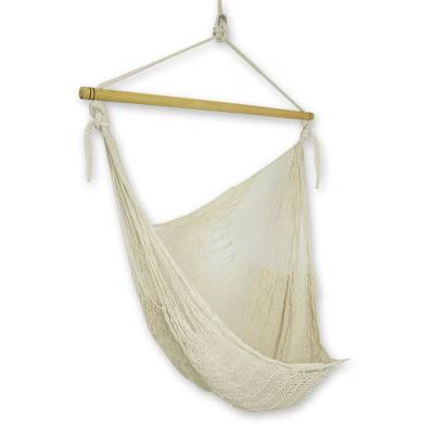 Unique Mexican Ivory Cotton Swing Hammock, 'Deserted Beach'