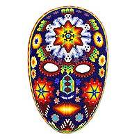 Beadwork mask, 'Danza Jicuri' - Mexican Peyote Theme Authentic Huichol Beaded Mask