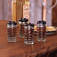 Shot glasses, 'Cobalt Spiral' (set of 4)